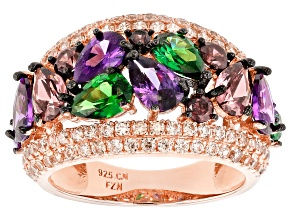 Pre-Owned Brown, Purple, And Green Cubic Zirconia 18k Rg Over Sterling Silver Ring 7.58ctw