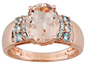 Pre-Owned Womens Ring Pink Morganite Blue Aquamarine Diamond 10k Rose Gold