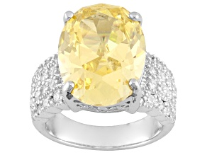 Pre-Owned Yellow And White Cubic Zirconia Sterling Silver Ring 21.90ctw