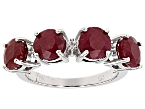 Pre-Owned Red Ruby Silver Ring 4.97ctw