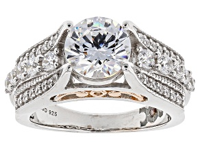 Pre-Owned White Cubic Zirconia Rhodium Over Silver & 18k Rose Gold Over Silver Ring 4.52ctw