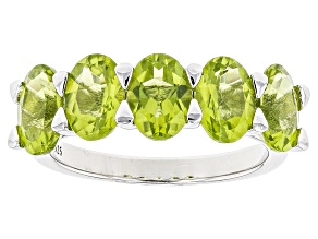 Pre-Owned Green Peridot Silver Ring 4.10ctw