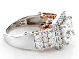Pre-Owned Cubic Zirconia Silver And 18k Rose Gold Over Silver Ring 8.47ctw (4.93ctw DEW)
