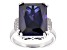 Pre-Owned Blue And White Cubic Zirconia Rhodium Over Sterling Silver Ring 20.57ctw