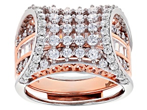 Pre-Owned White Cubic Zirconia Rhodium Over Silver & 18k Rose Gold Over Silver Ring W/ Guard 4.27ctw