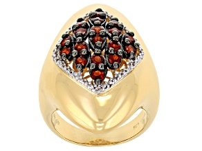 Pre-Owned Red Garnet And White Topaz 18k Yellow Gold Over Sterling Silver Ring 1.02ctw
