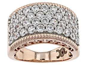 Pre-Owned White Cubic Zirconia Rhodium & 18k Rose Gold Over Sterling Silver Ring 4.69ctw