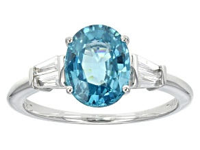 Pre-Owned Blue Zircon 10k White Gold Ring 2.81ctw