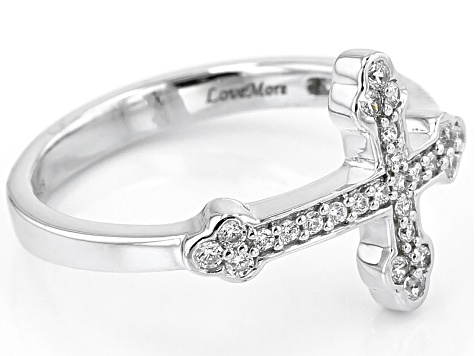 Pre-Owned White Cubic Zirconia Rhodium Over Sterling Silver Cross Ring .23ctw