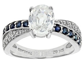 Pre-Owned White Zircon And Blue Sapphire 10k White Gold Ring 2.76ctw