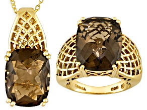 Pre-Owned 17.83CTW CUSHION SMOKY QUARTZ 18K GOLD OVER SILVER RING AND PENDANT WITH CHAIN SET