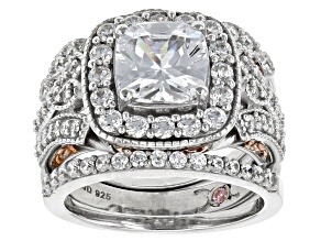 Pre-Owned Cubic Zirconia Silver And 18k Rose Gold Over Silver Ring With 2 Bands 5.74ctw (3.08ctw DEW