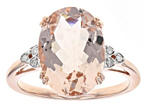 Pre-Owned 5.40ct Cor-De-Rosa Morganite ™ With .03ctw White Diamond Accent 10k Rose Gold Ring