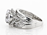 Pre-Owned White Cubic Zirconia Rhodium Over Sterling Silver Ring 6.40ctw