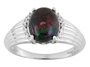 Pre-Owned Black Ethiopian Opal Sterling Silver Gents Ring 1.94ctw.