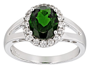 Pre-Owned Green Russian Chrome Diopside Sterling Silver Ring 2.73ctw