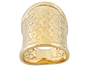 Pre-Owned Basket Weave Design Italian 18k Yellow Gold Over Bronze Wide Cigar Band Ring