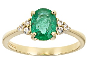 Pre-Owned Green Ethiopian Emerald 10k Yellow Gold Ring 1.09ctw