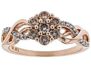 Pre-Owned Champagne And White Diamond 10k Rose Gold Ring .60ctw
