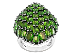 Pre-Owned Green Russian Chrome Diopside Sterling Silver Ring 9.23ctw.