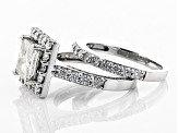 Pre-Owned Moissanite Platineve Ring With Band 3.21ctw D.E.W