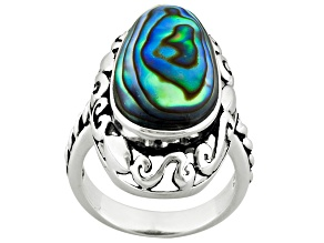 Pre-Owned Abalone Shell Sterling Silver Ring