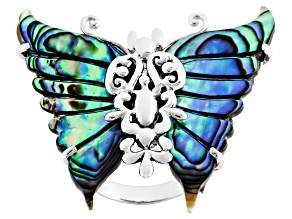 Pre-Owned Abalone Shell Rhodium Over Sterling Silver Filigree Butterfly Ring