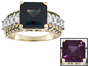 Pre-Owned 5.05ctw Lab Alexandrite And White Zircon W/ .13ctw Blue Diamond 10k Yg Ring