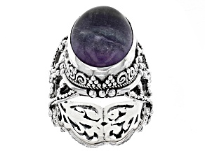 Pre-Owned Purple Fluorite Silver Solitaire Ring