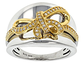 Pre-Owned White Diamond Rhodium And 14k Yellow Gold Over Sterling Silver Ring .15ctw