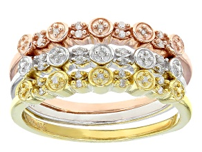 Pre-Owned White Diamond 14k Yellow And Rose Gold And Rhodium Over Sterling Silver Stackable Rings .1