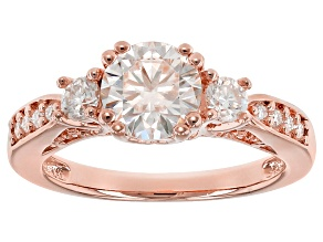 Pre-Owned Moissanite Fire® 1.60ctw DEW Round 14k Rose Gold Over Sterling Silver Ring