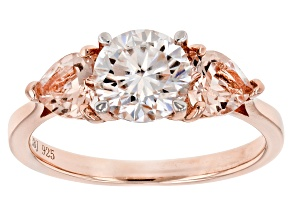 Pre-Owned Moissanite Fire™ 1.20ct DEW With .83ctw Morganite 14k Rose Gold Over Sterling Silver Ring