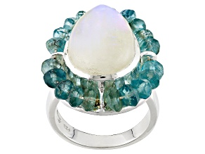 Pre-Owned White Rainbow Moonstone Silver Ring 6.40ctw