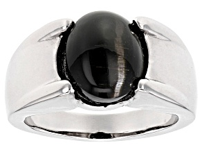 Pre-Owned Black Cat's Eye Sillimanite Sterling Silver Ring