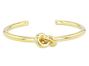 Pre-Owned 18k Yellow Gold Over Bronze Knot Station Bangle Bracelet 8 inch