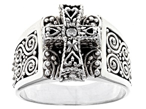 Pre-Owned White Single Diamond Accent Silver Cross Ring .03ct