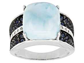 Pre-Owned Blue Larimar, Mahaleo Sapphire And White Diamond Sterling Silver Ring .88ctw