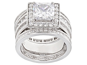 Pre-Owned White Cubic Zirconia Rhodium Over Sterling Silver Ring With Bands 9.05ctw