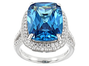 Pre-Owned Blue And White Cubic Zirconia Rhodium Over Sterling Silver Ring 19.20ctw