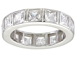 Pre-Owned Bella Luce® 5.85ctw Princess Diamond Simulant Rhodium Over Silver Ring