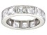 Pre-Owned Bella Luce® 5.85ctw Princess Diamond Simulant Rhodium Over Silver Ring