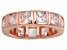 Pre-Owned Bella Luce® 5.85ctw Princess Diamond Simulant 18k Rose Gold Over Silver Ring
