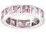 Pre-Owned Bella Luce® 5.85ctw Princess Pink Diamond Simulant Rhodium Over Silver Ring