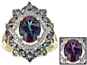 Pre-Owned Multi-Color Lab Created Alexandrite Yellow Gold Ring 4.42ctw