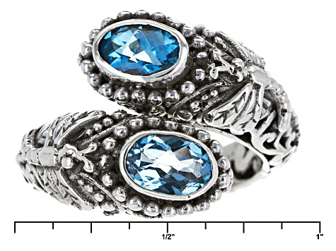 Pre-Owned Swiss Blue Topaz Silver Ring 1.70ctw