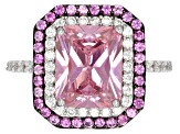 Pre-Owned Pink Lab Created Sapphire, Pink And White Cubic Zirconia Rhodium Over Sterling Ring 6.51ct