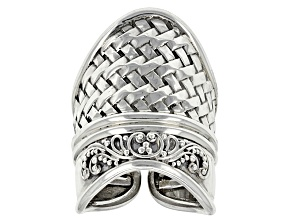 Pre-Owned Sterling Silver Basket Weave Ring
