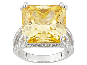 Pre-Owned Yellow And White Cubic Zirconia Silver Ring 30.67ctw (12.62ctw DEW)