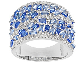 Pre-Owned Blue Lab Created Spinel and White Cubic Zirconia Rhodium Over Sterling Ring 3.07ctw